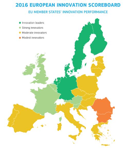 mapa de paises innovadores